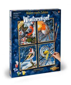 Kit pictura pe numere schipper quatro iarna pasari zgribulite