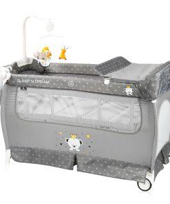 Patut pliabil, sleep n dream, 2 nivele, grey bear