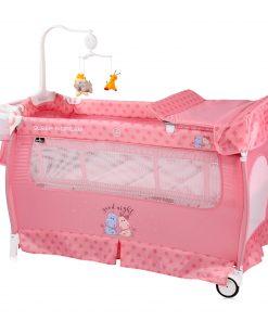 Patut pliabil, sleep n dream, 2 nivele, pink hippo