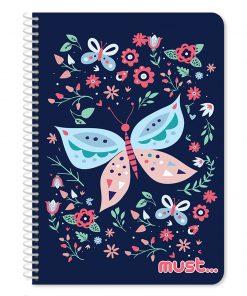 Caiet dictando cu spirala Must Butterfly, 17 x 25 cm