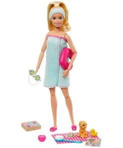 Set de joaca Papusa Barbie cu accesorii Welness GJG55