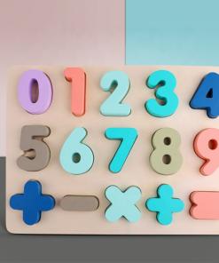 Puzzle lemn cu cifre - Culori Pastel