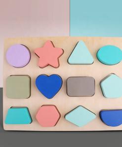 Puzzle lemn Forme Geometrice - Culori Pastel