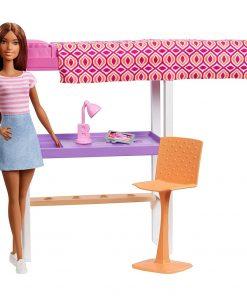 Set Barbie by Mattel Estate Birou cu pat supraetajat, papusa si accesorii