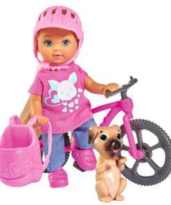 Papusa Evi Love 12 cm Holiday Bike cu Bicicleta si Catelus