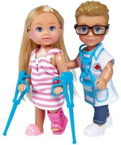 Set Evi Love Doctor Papusa Evi 12 cm si Papusa Timmy 12 cm cu Accesorii
