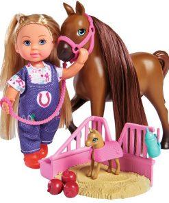 Set Evi Love Doctor Evi Welcome Horse Papusa 12 cm cu Figurina Cal si Accesorii