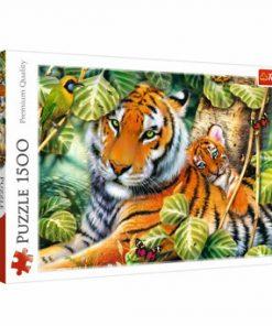 Puzzle Trefl tigri bengalezi in padurea tropicala, 1500 piese