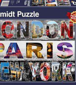 Puzzle London, Paris, New York, 1000 piese