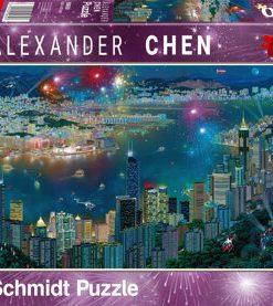 Puzzle Focuri de artificii peste Hong Kong, 1000 piese