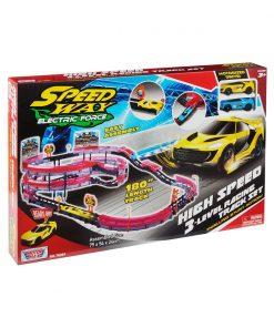 Set de joaca cu 2 masinute High Speed 3 Level Racing Track Motormax