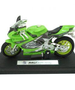 Motocicleta cu lumini si sunete Unika Toy, Verde, 13 cm