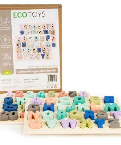 Tabla educationala din lemn cu cifre si litere - 51 de elemente ecotoys ma4512