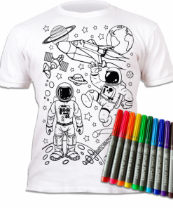 Tricou de colorat cu markere lavabile - Cosmos
