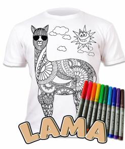 Tricou de colorat cu markere lavabile - Lama