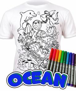 Tricou de colorat cu markere lavabile - Ocean