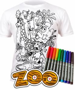 Tricou de colorat cu markere lavabile - Zoo