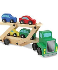 Camion transportator din lemn cu 4 masinute