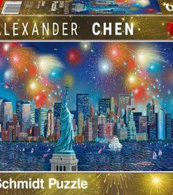 Puzzle Statuia Libertatii cu artificii, 1000 piese