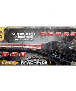 Trenulet electric cu locomotiva din aliaj, cu lumina, aburi si sunete Cool Machines