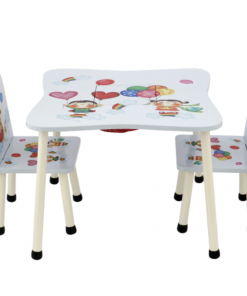 Set masuta activitati Mappy Happy, cu 2 scaune, din lemn, Alb/Albastru