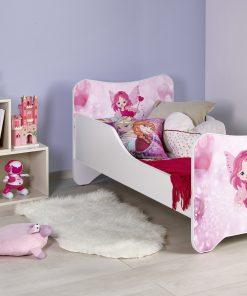 Pat pentru copii Happy Fairy, White / Pink, 140 x 70 cm