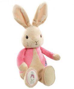 Jucarie bebe de plus Flopsy Rabbit, Roz, 26 cm