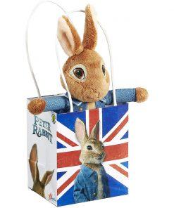 Jucarie bebe de plus Peter Rabbit in Union Jack Bag, 18 cm