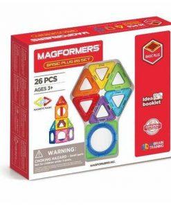 Set magnetic de construit- Magformers Basic Plus, 26 piese