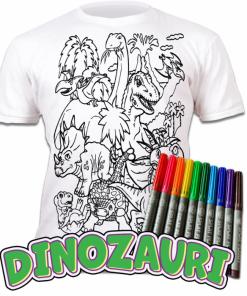 Tricou de colorat cu markere lavabile - Dinozauri