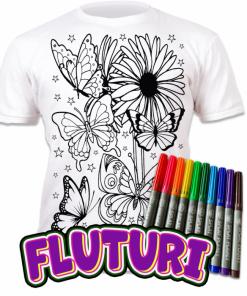 Tricou de colorat cu markere lavabile - Fluturi