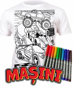 Tricou de colorat cu markere lavabile - Masini