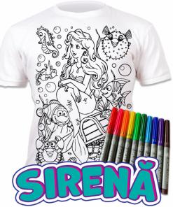 Tricou de colorat cu markere lavabile - Sirena
