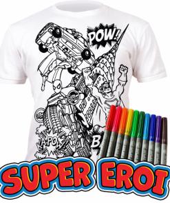 Tricou de colorat cu markere lavabile - Super Eroi