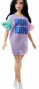 Papusa Barbie fashionista cu rochita unicorn beliver
