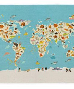 Covor World Map 120x160 cm - NAF NAF, Multicolor 1063505