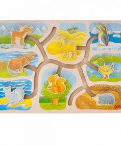 Puzzle glisant lemn - Cine unde locuieste?
