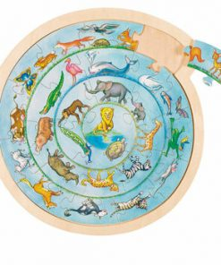 Puzzle rotund lemn Cercul animalelor, 27 piese