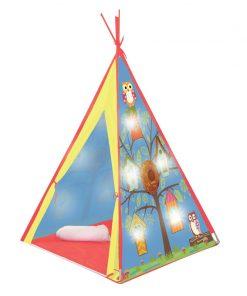 Cort luminat pentru copii Indian Owl, 10 x LED, 120 x 120 x 160 cm, Multicolor