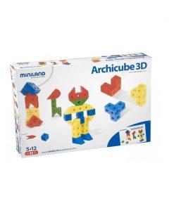 Joc de constructie Arhicube Miniland, 126 piese, 5 ani+