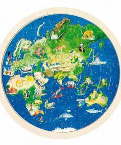 Puzzle rotund lemn Lumea, 57 piese