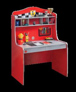 Masa de birou din pal cu etajera si 2 sertare, pentru copii Race Cup Rosu, L104xl68xH152 cm
