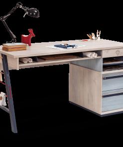 Masa de birou din pal si metal pentru tineret, baieti 12-24 ani, Trio Natur / Blue, l141xA64xH76 cm