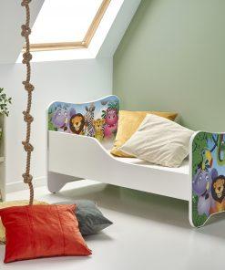 Pat pentru copii Happy Jungle, White / Multicolor, 140 x 70 cm