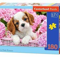 Puzzle Catelus intre flori, 180 piese