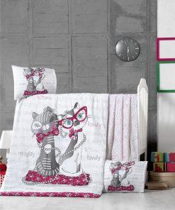 Set lenjerie pentru copii, din bumbac Ranforce, 4 piese, Kittens Multicolor, 100 x 150 cm