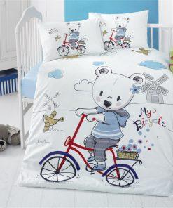 Set lenjerie pentru copii, din bumbac Ranforce, 4 piese, My bike Multicolor, 100 x 150 cm