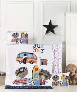 Set lenjerie pentru copii, din bumbac Ranforce, 4 piese, Surf Multicolor, 100 x 150 cm