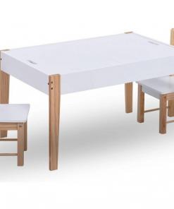 Set masa cu scaune pentru copii cu tabla, 3 piese, negru si alb