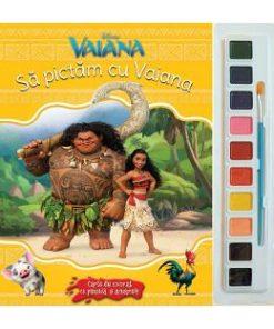 Sa pictam cu Vaiana - Carte de colorat cu pensula si acuarele